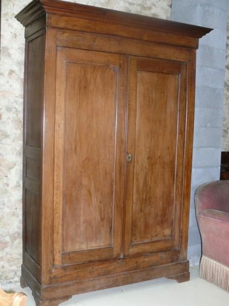 Armoire en bois ch ne et noyer 2 portes albert antiquit for Petit meuble deux portes
